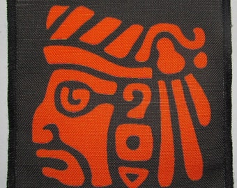 Printed Sew On Patch - AZTEC HEAD - Classic carved Aztec head image