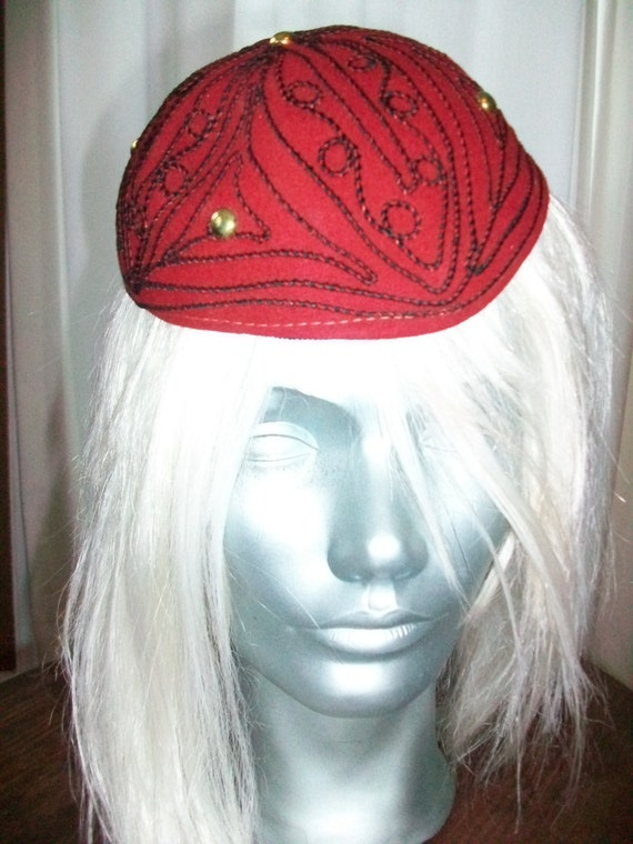 1950s Ladies Hat Red Felt and Black Trim w/ Silver Buttons
