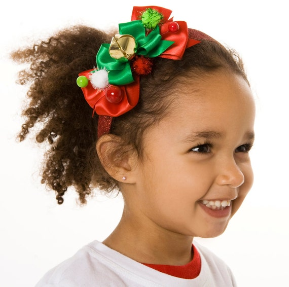READY TO SHIP:  North Pole Pixie Headband - Red and Green - Fits toddler to adult - Cutie Patootie Designz