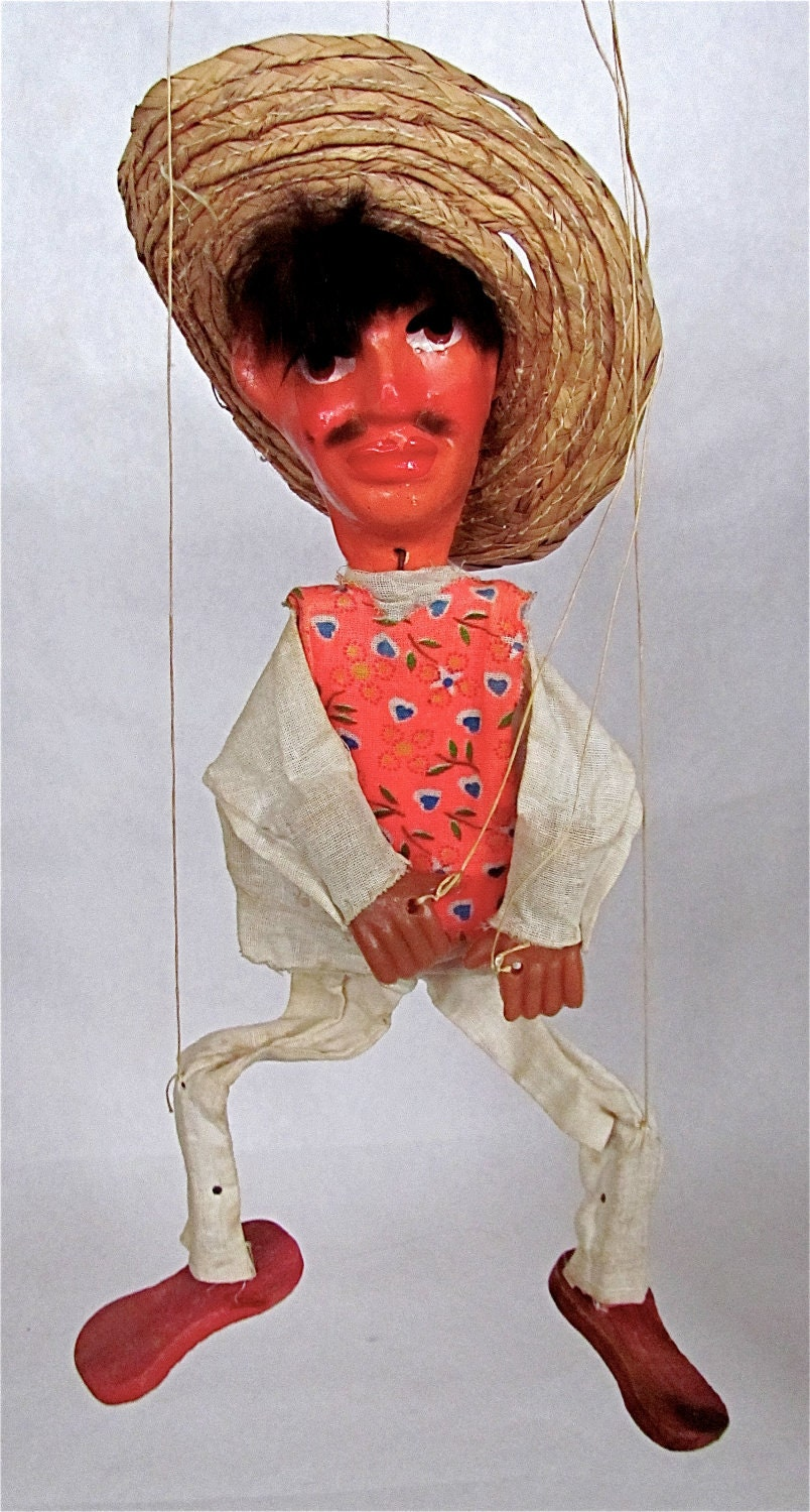 Treasury Item Mexican Marionette String Puppet Se 241 Or Peasant