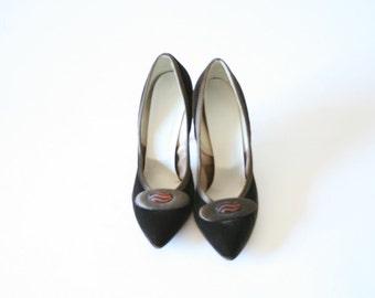 Jacqueline Designer Originals Chocolate Brown Velvet Pumps Stilettos 1950s Size 65 or 7