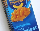 Journal Notebook CHEESE PASTA Macaroni & Cheese Spiral recycled Kraft blue yellow