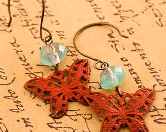 BUTTERFLY Earrings, Boho Earrings, Bohemian Earrings, Patina Earrings, Red Earrings, Gift For Her, Boho, Butterfly, Spring, Gift, Glass