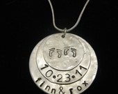 Twin Custom Name Necklace Sterling Silver Triple Disk