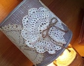 Vintage Lamp Shade Embellished with Vintage Crochet Lace Doilies