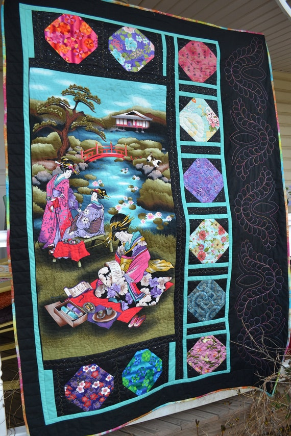 Handmade Quilt Fathers Day Present Retirement Gift Oriental