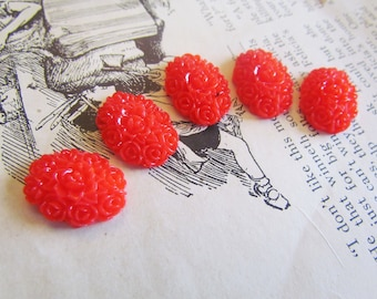 Red Flower Cabochons (Ray Collection) 18x13mm 5pcs  - Ships IMMEDIATELY from California - C16R