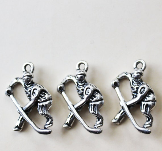 Hockey Player Charms Silver 26x17mm - 5pcs - Ships IMMEDIATELY  from California - SC102