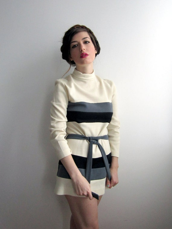 1970's Black & White Striped Mini Dress
