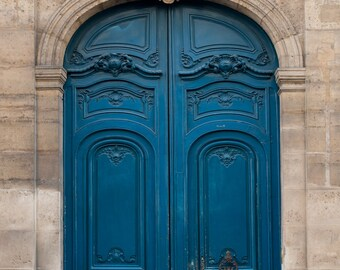 Paris Photography - The Blue Door, Ornate, Architectural Fine Art Photograph, Urban Home Decor