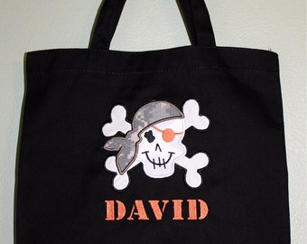 Monogrammed Pirate Trick or Treat Personalized Large Tote Bag Boy Girl Army ACU Embroidered Halloween
