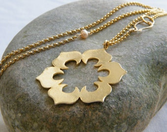 Flower necklace gold pendants  flower gold pendant, big flower necklace, nature jewelry