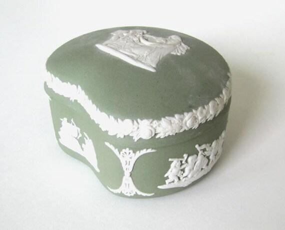 Vintage Wedgwood Celadon Jasperware Keepsake Box