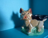Lustreware French Bull Dog Boxer Ashtray Made in Japan