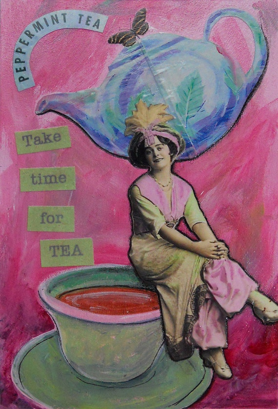 Postcard Mail Art // Tea Teapot // Paper Collage // Mixed Media // Woman Teapot // 4 x 6 // Original Collage