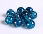 10mm teal blue crackled glass beads - Blue crackle bead - Round glass beads (231) - Flat rate shipping