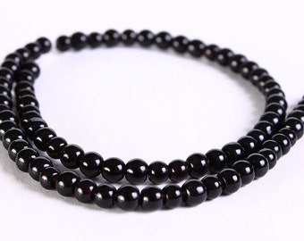 4mm black glass beads - 4mm black opaque beads - 4mm round beads - 4mm Opaque beads - 4mm glass beads (324) - Flat rate shipping