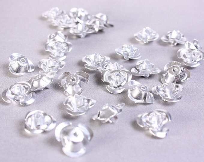Sale Clearance 20% OFF - 30 12mm silver grey gray rose flower aluminum cabochon bead 30pcs (694)