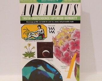 Aquarius Birthday Card Vintage Zodiac Sign Card Astrology Horoscope Friend Noble Works Honeycutt January February Birth Date