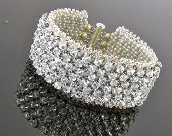 "Swarovski Crystal Bridal, Beaded Bracelet, Art Deco Bracelet, Platinum, Gray,Sterling Silver, Crystal Cuff-Miss Olivia ""Paved in Platinum"""
