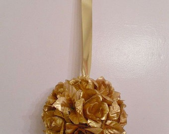 Gold Pomander Kissing Ball, Flower Girl, Silk Flowers, Bridesmaid, Bouquet, Wedding Decorations (Also Available in Shimmery Silver)