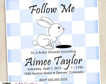 Graphic Design - Alice in Wonderland Baby Shower Invitation - white rabbit - Girl - Boy - DIY Printable