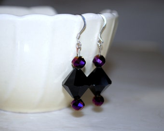 Black Crystal Earrings -- Purple and Black Earrings, Purple Crystals, Silver, Dangly Earrings, Little Black Dress