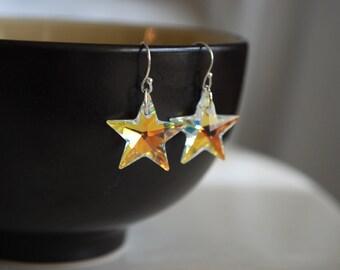 Swarovski Crystal Star Earrings -- Silver, Crystal Star Earrings, AB Swarovski Crystal Star Earrings