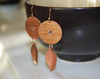 Bronze Leaf Earrings -- Bronze Leaves, Circles, Swarovski Crystals, Boho earrings