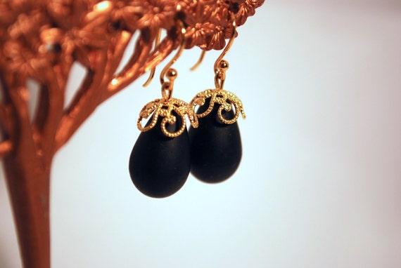 Jet Black Earrings -- Elegant Black Sea Glass Drops, Gold Beaded Accent, 14k Gold Ear Hooks