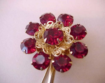 Lovely Long Stemmed Rhinestone Flower Brooch in Beautiful Crimson