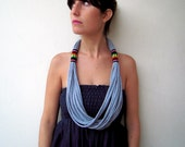 The peruvian necklace V2.0 - handmade in grey jersey and black peruvian fabric