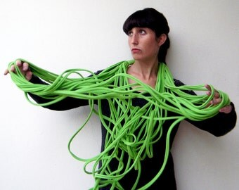 The noodle scarf - handmade in lime green jersey fabric