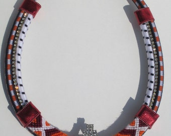 "Tribal Bungee Cord Friendship Bracelet Vintage Rhinestone Statement Necklace- ""Nectarine Dreams"""
