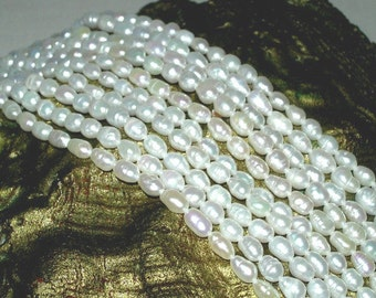 """Lot of 3 Extra Long 33"""" Strands Freshwater Pearls 4mm-6mm Baroque Rice Genuine Creamy White Jewelry-Crafts-Art"""