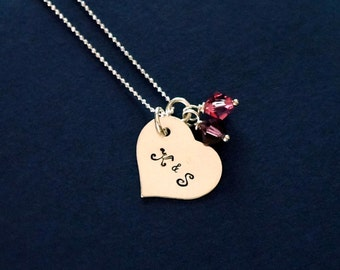 Heart Shaped Initial Necklace Mother's Necklace Jewelry Mom Necklace
