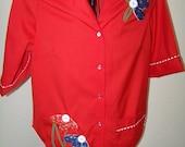 Unique Vintage Red Blouse with Flowers / Size XL