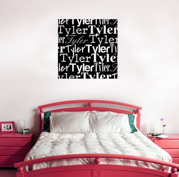 Name Wall decal- Custom typography name wall decal