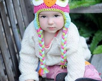 owl hat, crochet owl hat, baby hat, kids hat, custom colors
