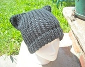 Black Knit Cat Hat (Tween - Adult)