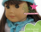 Beanie and Frilly Scarf knitting pattern for American Girl 18 inch doll