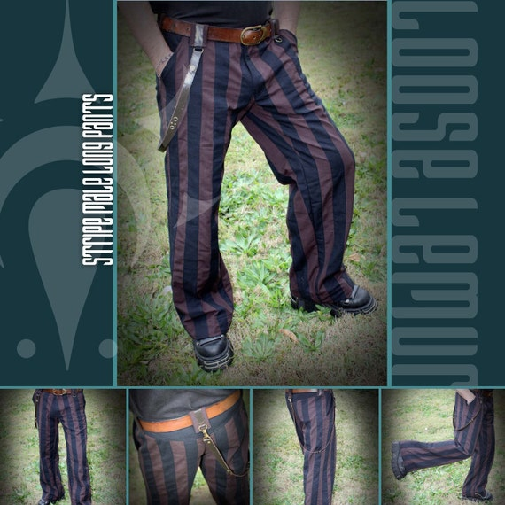 Phat Stripe Brown & Black Twill Pants with studded Leather Strap by Loose Lemur Clothing