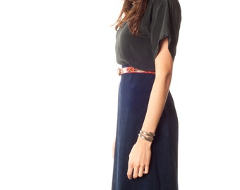 SALE Festival Vintage Long Skirt. Navy Blue Suede Long Skirt. Winter Hippie Gypsy Coachella