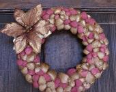 Christmas wreath - 8.5. inches - seashell wreath - Holiday wreath - Victorian decor - coastal - beach - cottage chic, gold, sea shell