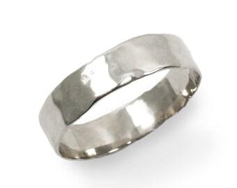 White gold ring. 14k White gold thin hammered wedding band. Men wedding band. Unisex wedding band. White gold ring. (gr-9303-297)