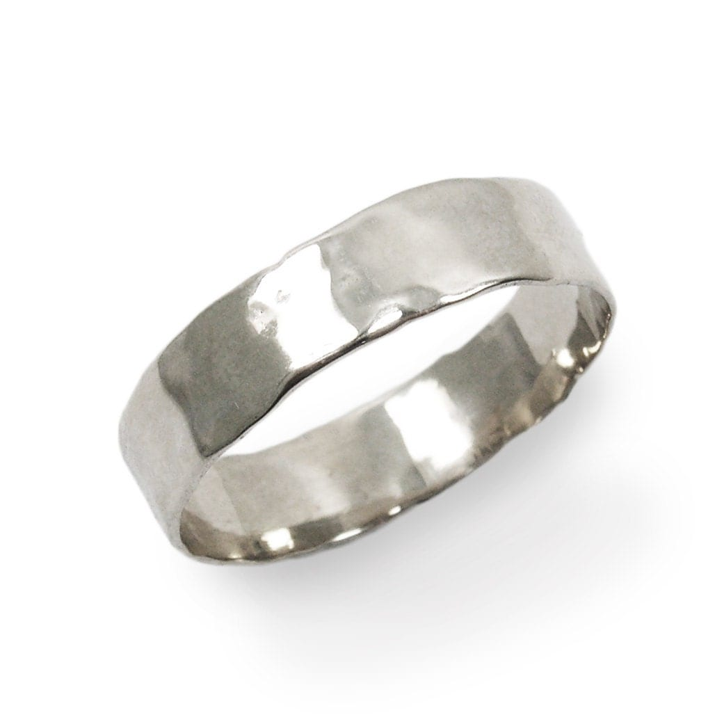 White Gold Ring 14k Thin Hammered Wedding Band