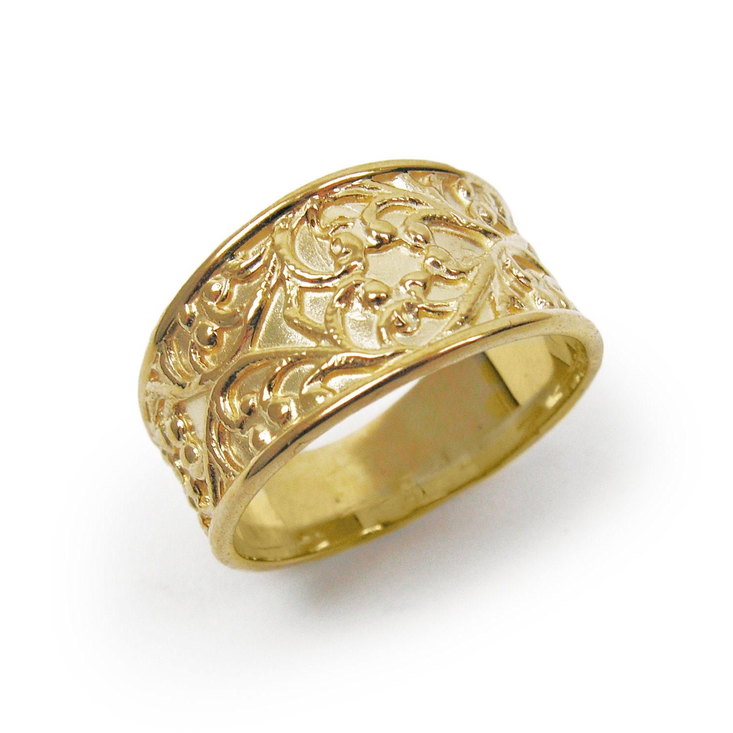 Unique Wedding Band Art Nouveau Wedding Ring 14k Yellow Gold
