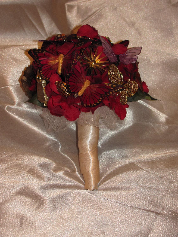 Vintage Brooch Bouquet Fall Wedding Red Hydrangea Gold