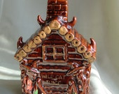 Wild Cat Juice Decanter, Redware Napco Moonshine Cabin Bottle, Redware Liquor Decanter