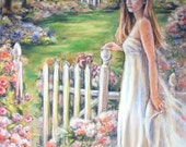 woman  romantic,  garden, art print, 17 x 21, landscape, lady, white dress, pink, green